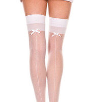 Back Seam Thigh High with Bow