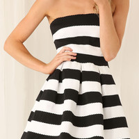 Monochrome Stripe Cross-back Bandage Skater Dress