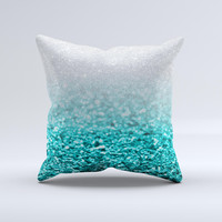 Aqua Blue & Silver Glimmer Fade  Ink-Fuzed Decorative Throw Pillow