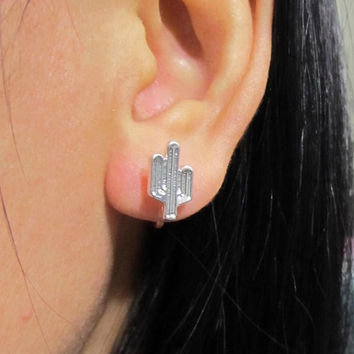 Cactus Stud Clip on Earring, C38s, Silver Plate Non Pierced Earring, Simple Invisible Clip On Stud Earring, magnetic earring alternative