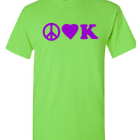 Peace, Love, kindergarten design.  Lime green t shirt with purple front and back prints.  FREE SHIPPING!