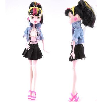 NK One Set  New Arrival Handmade Cortical Clothes & Sportswear Fashion Dress For Monster High Doll  For  BJD Dolls Best Gift 02A