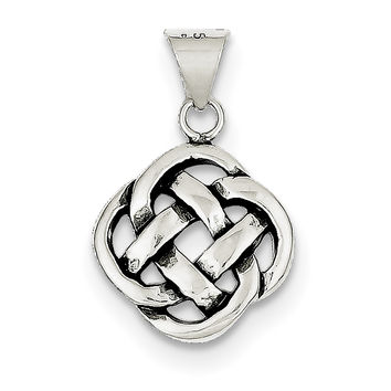 Sterling Silver Antiqued Celtic Knot Pendant QC7007