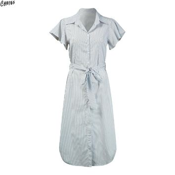 White Stripe Butterfly Sleeve Midi Shirt Dress Tied High Waist Buttons Up Front Casual Office Dress