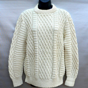 100% Wool Irish Sweater - Thick Knit Fisherman Style - Off-White - Hand Knit - Made in Ireland