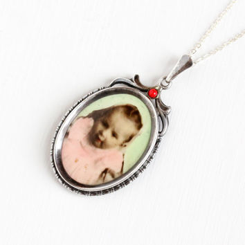 Vintage Art Deco Photographic Pendant Necklace - 1930s WWII Germany Old Stock Silver Plated Historical Celluloid Baby Girl Photo Jewelry