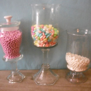 3 upcycled Wedding candy Buffet Pedestal Jars  by MamaLisasCottage