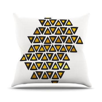 "Pom Graphic Design ""Inca Tribe"" Gold White Outdoor Throw Pillow"