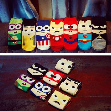 cute Cartoon print 3D Superheroes ankle Socks Women Female Novelty funny Happy Character Pattern cotton Sock sokken