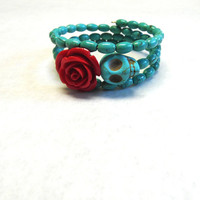Day of The Dead Bracelet Sugar Skull Turquoise Blue Red Rose