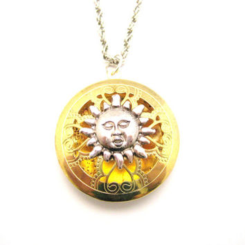 Sun Locket Mixed Metals  Large Round Locket Necklace You Are My Sunshine Locket Necklace Open Faced  Locket Jewelry Best Friend Gift