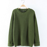 AA Classic Candy Color Loose Pullovers knitted Thick Sweater American apparel Vintage Long sleeve Jumper Knitwear Tops