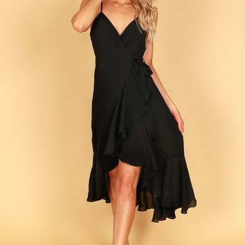 Wrap Ruffle Dress Black