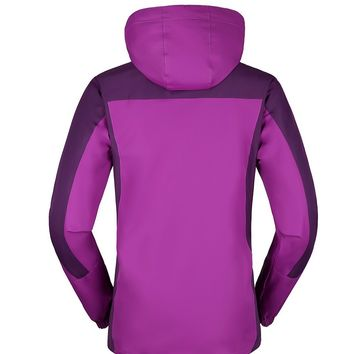 KAISIKE Women's Windproof Softshell Fleece Ski Jacket 3 In 1 Outdoor Sports Coat(W168/Purple-L)