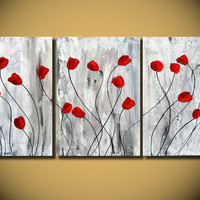Red Tulips flower painting Original Art Nature heavy by OritArt