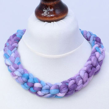 Purple crochet necklace in the braid shape - braided felt jewelry - thick, wool, felted, crocheted necklace [N89]