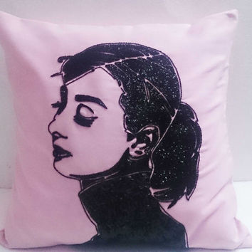 audrey hepburn sequins pillow pink pillow black sequins suede fabric gift idea retro pillow modern pillow