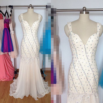 Long Ivory Mermaid Prom Dress, Chiffon Straps Formal Dresses, Beaded Lace Evening Wedding Party Dresses 2015
