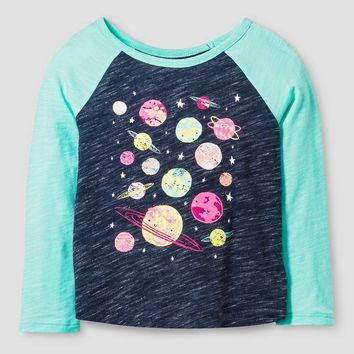 Baby Girls' Planets Long Sleeve Graphic T-Shirt Nightfall Blue 18M - Cat & Jack™ : Target