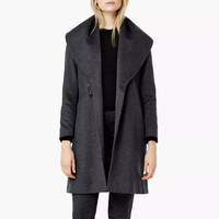 Deep Gray Lapel Collar Belted Coat
