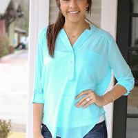 Simple Sheer Madness Tunic - Mint