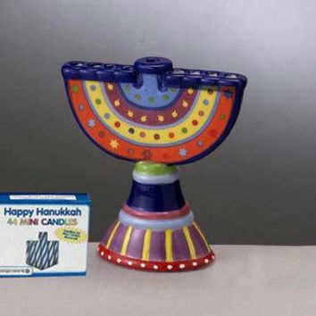 Ceramic Chanukah Hanukkah Menorah - Highly Polished, Colorful Menorah With A Modern Design
