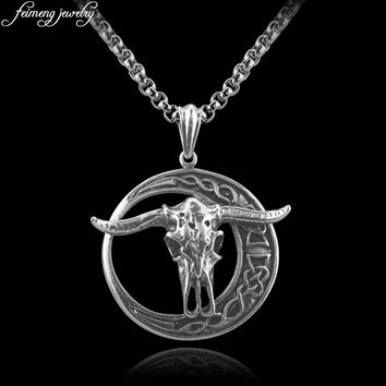 Baphomet Goat Head Pendant Necklace LaVey Satanism Occult Vintage Silver Pendant For Men Punk Style Jewelry Accessories
