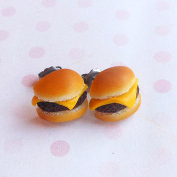 polymer clay cheeseburger stud post earrings