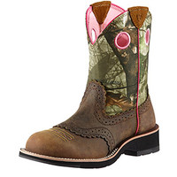 Ariat Fatbaby Sheila Cowgirl Women's Boots - Mossy Oak Camo and Pink