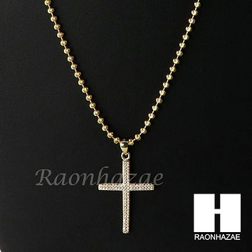 Sterling Silver .925 AAA Lab Diamond Jesus Cross w/2.5mm Moon Chain S29