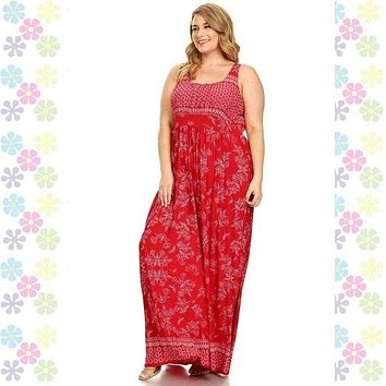 Plus Size Red Boho Chic Empire Waste Maxi Dress Floral UP TO SIZE 6X!
