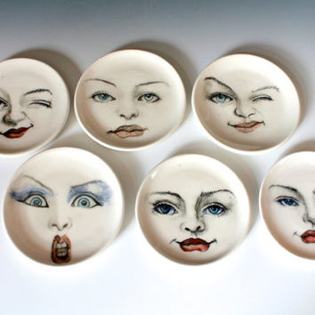 Woman Face Ring Dish, Surprised Face Plate, White Porcelain Dish Hand Drawn Face