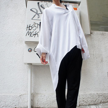 White Loose Shirt/ Asymmetric shirt/ Oversize Summer top A01009