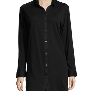 Long-Sleeve Button-Front Sleepshirt,