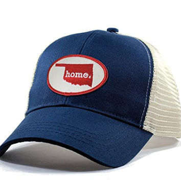 Homeland Tees Men's Oklahoma Home State Trucker Hat with Red Patch - Blue