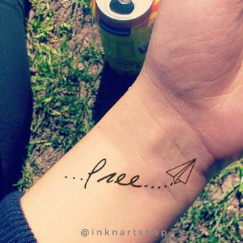 2pcs free paperplane temporary tattoo - InknArt Temporary Tattoo - wrist quote tattoo body sticker fake tattoo wedding tattoo small tattoo
