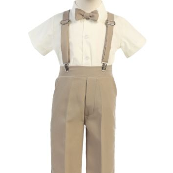Khaki Tan Suspender Pants & Ivory Dress Shirt 5 Pc Outfit with Cap (Baby 6 months to Boys Size 7)