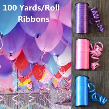 100 Yards/Roll New Year 2018 Wedding Decoration Birthday Gift Ribbon Balloon Rope Wire Ribbon for Party Embossed Balloon Accesso