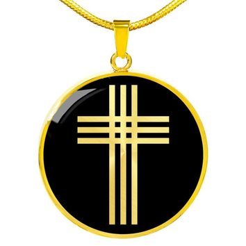 Stylized Cross v2 - 18k Gold Finished Luxury Necklace