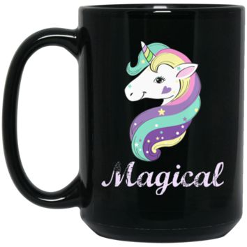 Magical Unicorn BM15OZ 15 oz. Black Mug