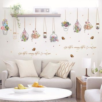 Cactus Bonsai Potted Flower Plants Wall Stickers Decorative Sticker Home Decor Kitchen Window Living Room Decor Decal