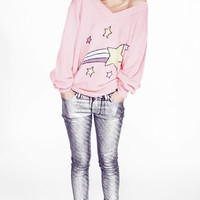 SHOOTING STAR SCHOOL GIRL V-NECK SWEATER at Wildfox Couture in  NEOS, STLT