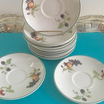 12 Vintage Tea Saucers, China Plates for Crafts, Small Fruit Plates, Bridal Shower Favors, Wall Decor, Shabby Cottage Chic