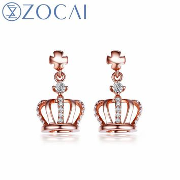 ZOCAI New Design Crown Shape Earrings Real diamond 0.13 CT certificated 18K Rose Gold (AU750) Party Earrings E80019T