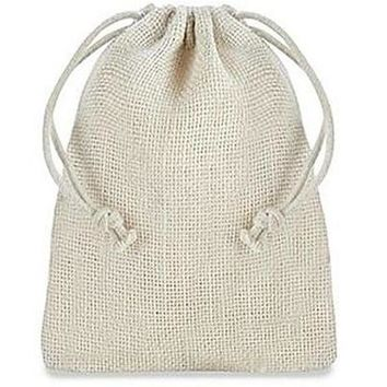"""Burlap Bags with Drawstring - 4 x 6"""", Ivory"""