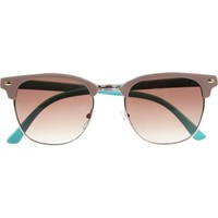Light brown colour block retro sunglasses - retro sunglasses - sunglasses - women