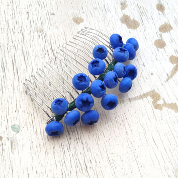 Blueberry jewelry, blueberry hair comb, floral jewelry, botanical jewelry, polymer clay, hair accessories, hair comb, hair, blueberry, comb