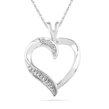 Diamond Accent Heart Pendant in 10K White Gold - View All Necklaces - Zales