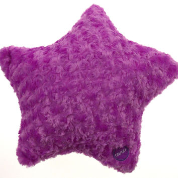 "Purple Star Plush Throw Couch Bed Pillow Color LED Light Up Flash 13"" Microbeads"