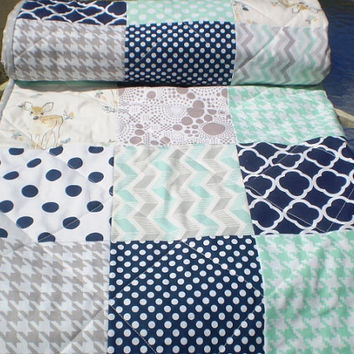 Modern Baby quilt-baby girl quilt, baby boy bedding,Patchwork crib quilt,toddler,mint green,grey,navy,deer,fawn,arrows,chevron,dots,-Bambi